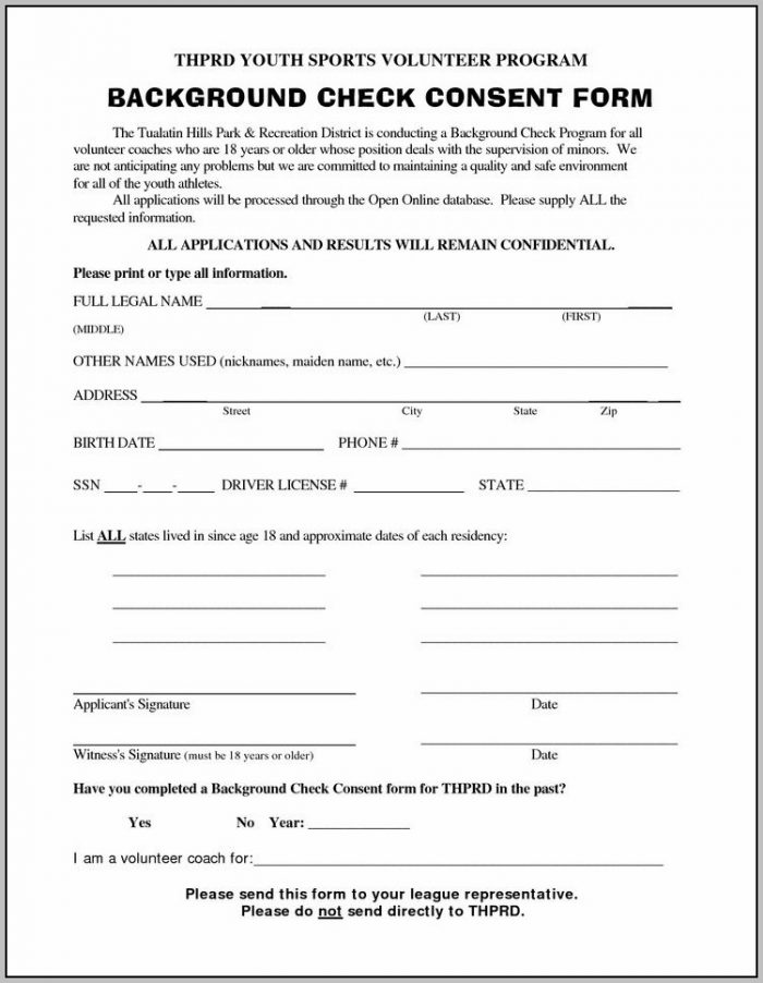 Background Check Application Form