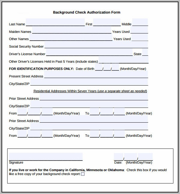 Background Check Authorization Template