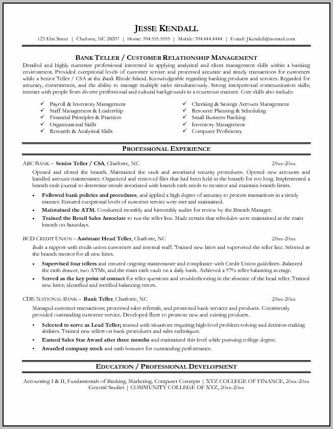 Banking Resume Examples