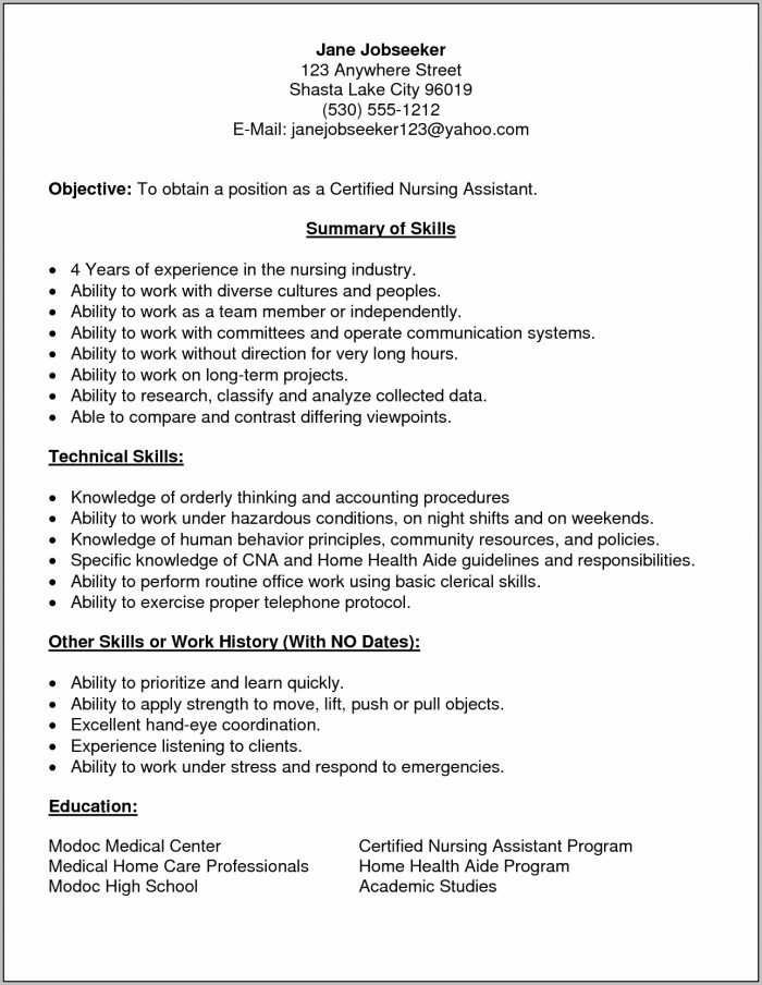 Resume Example Cna Resume Format With No Experience Basic Resume Intended For Basic Resume Format