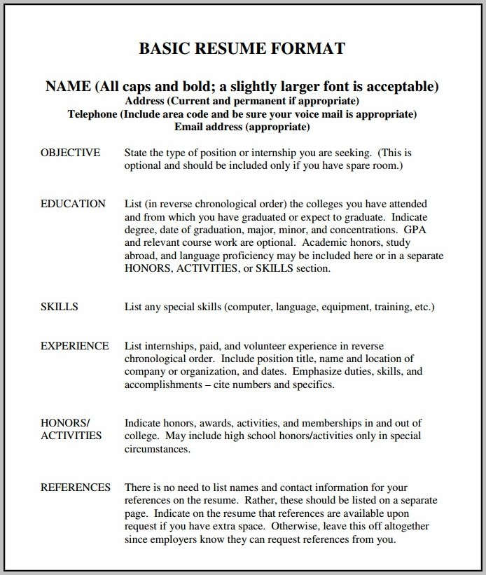 Basic Resume Sample Format