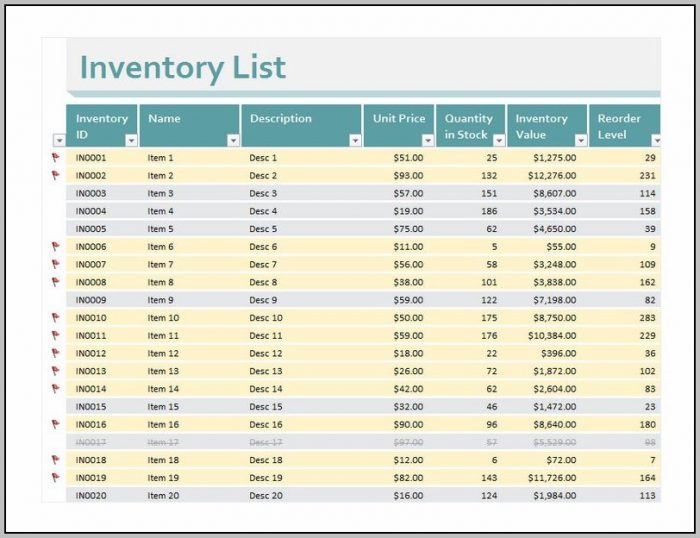 Excel Inventory Spreadsheet