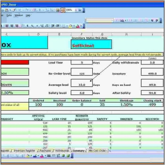Excel Stock Control Database