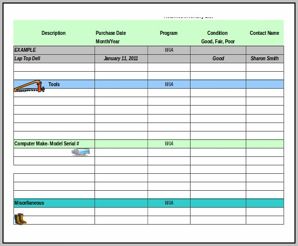 Excel Tool Inventory Template