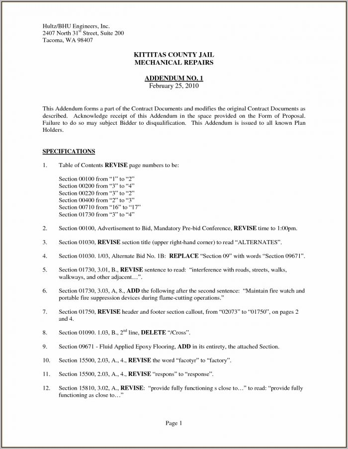 8+ Addendum To Contract Form | A Cover Letters For Contract Addendum Template