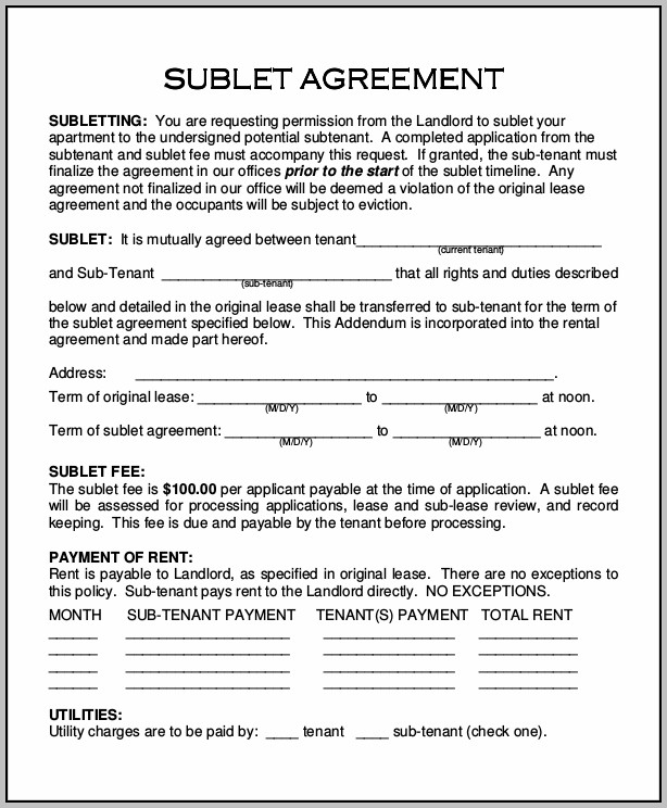 Apartment Sublease Form