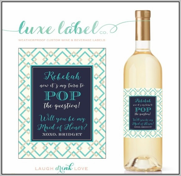 Bridesmaid Wine Bottle Label Template