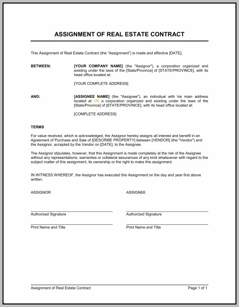Assignment Of Contract Example
