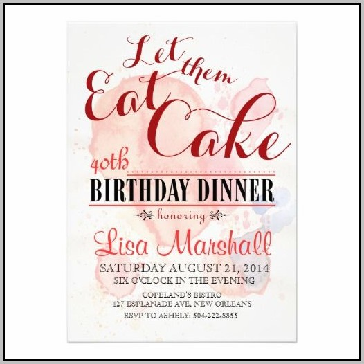 Birthday Dinner Invite Message