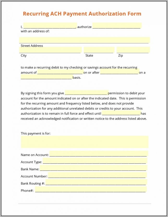 Ach Forms Templates Matthewgates.co With Regard To Ach Authorization Form Template