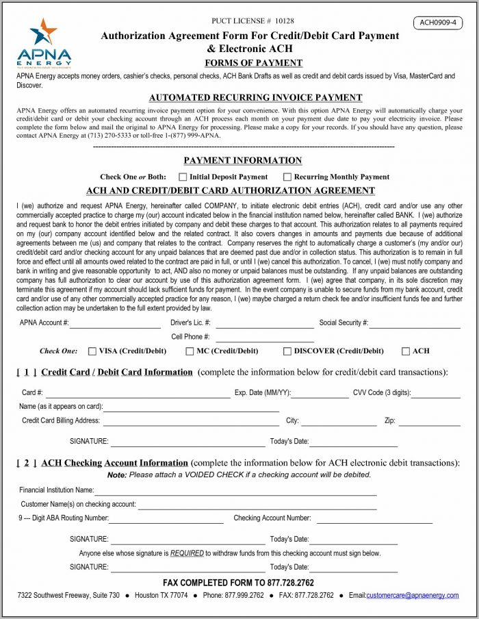 Ach Authorization Agreement Template