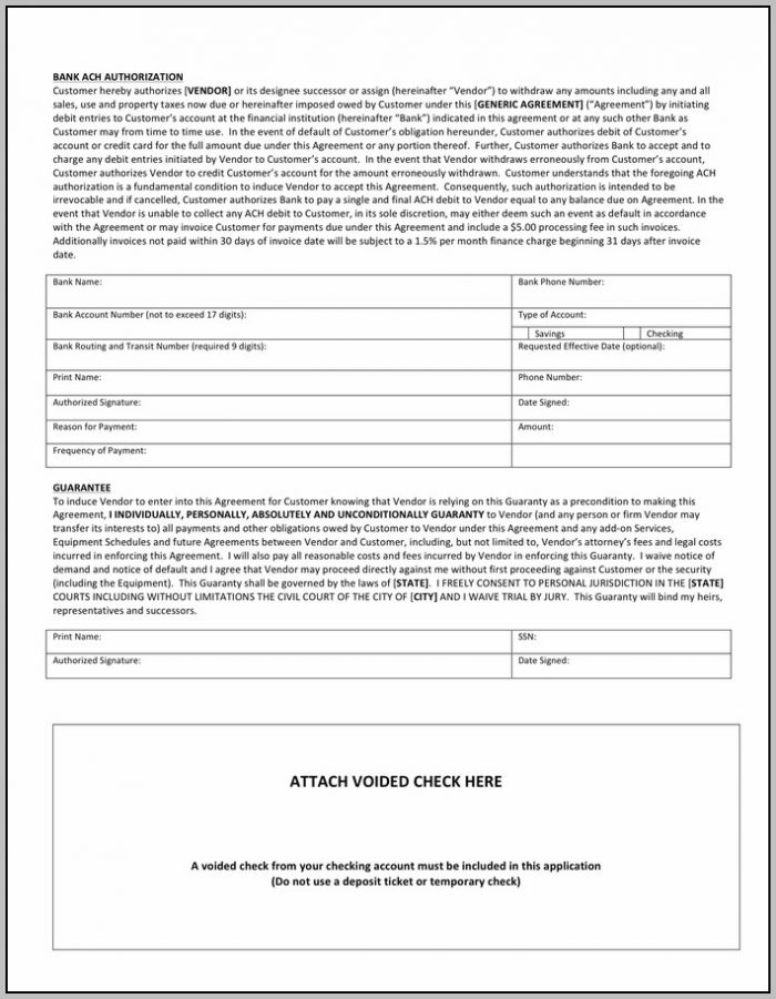 Ach Authorization Form Pdf