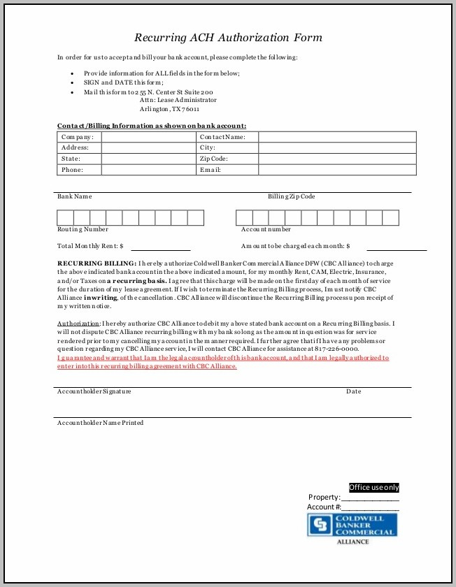 Ach Authorization Form