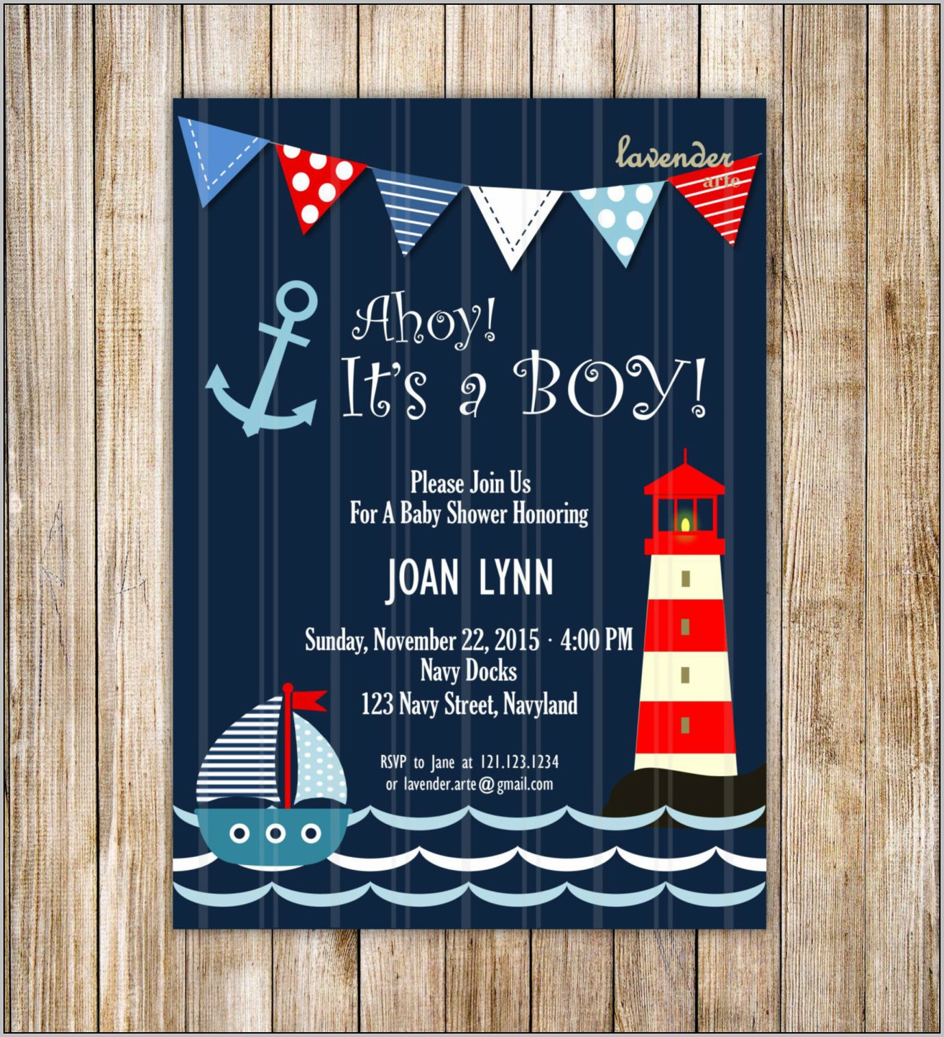 Anchor Baby Shower Invitations