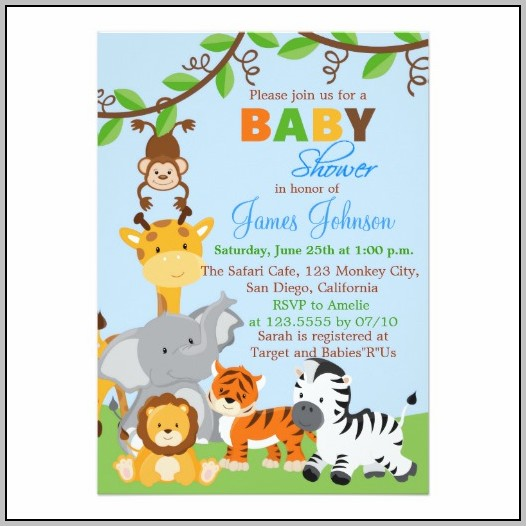 Animal Baby Shower Invitations Templates