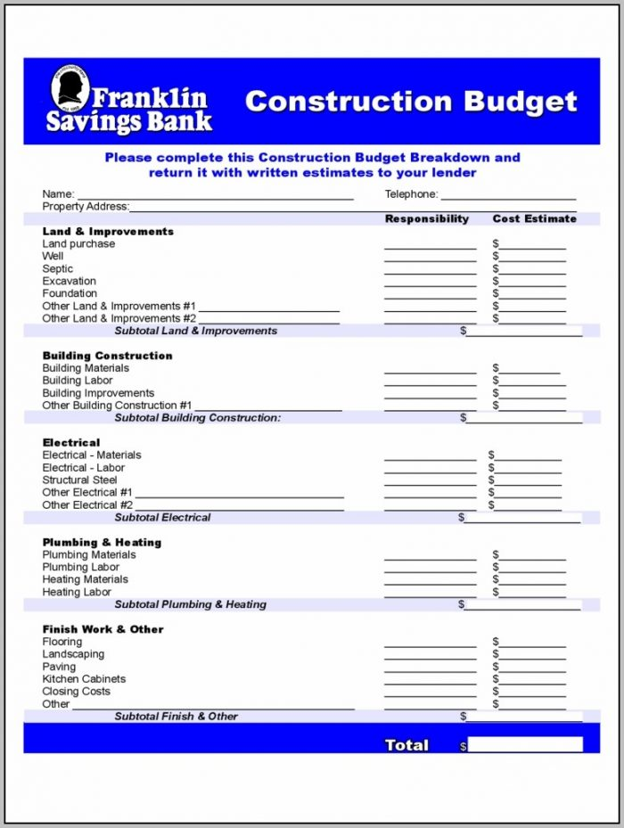 Construction Forms 41 Free Templates In Pdf, Word, Excel Download To Construction Estimate Form Pdf