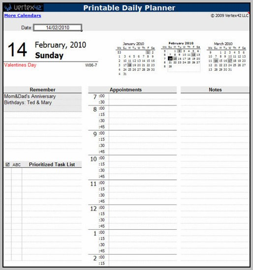 Daily Schedule Planner Template Excel