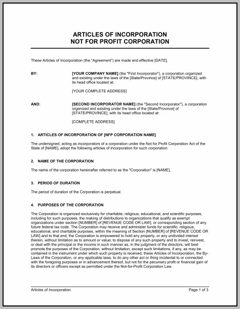 Articles Of Incorporation Template Canada