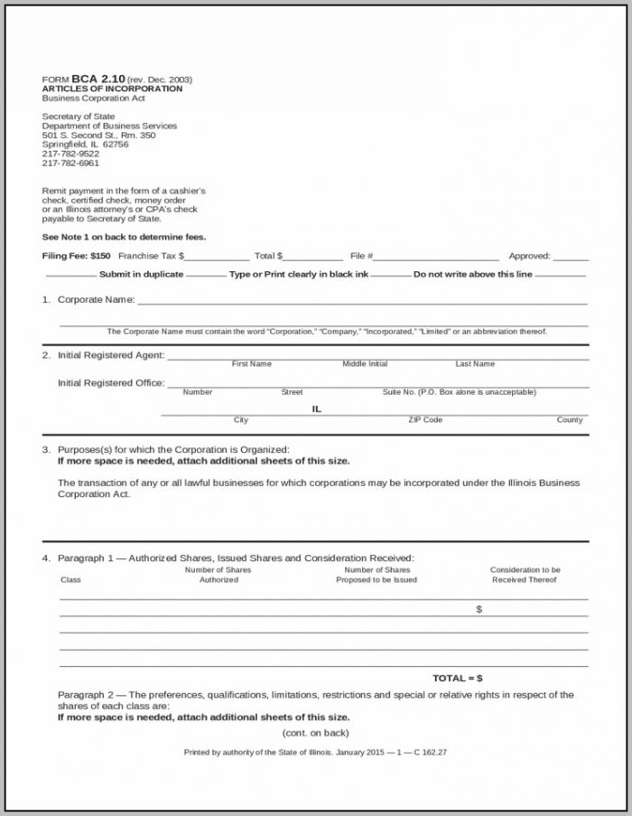 Articles Of Incorporation Template Sec