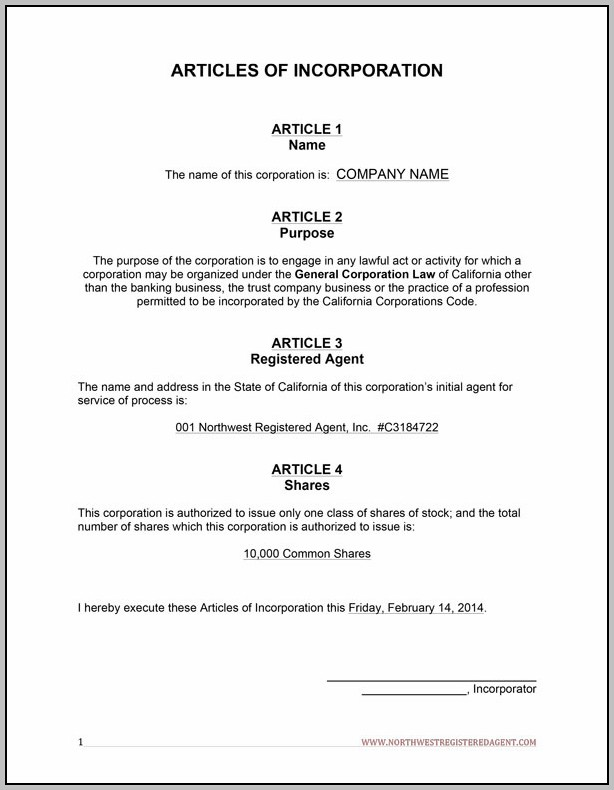 Articles Of Incorporation Template Word