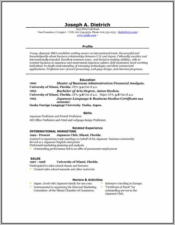 Microsoft Word Free Resume Template