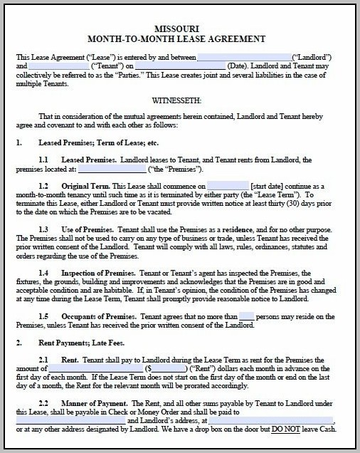 Missouri Real Estate Contract Template