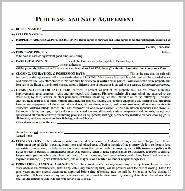 Real Estate Contract Of Sale Template