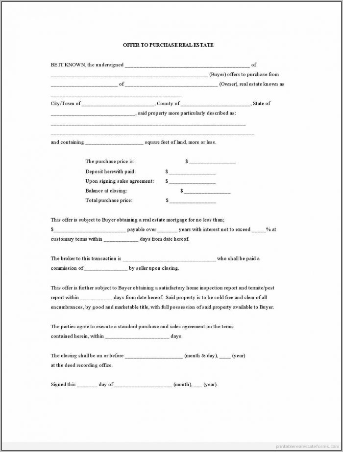 Real Estate Offer Contract Template