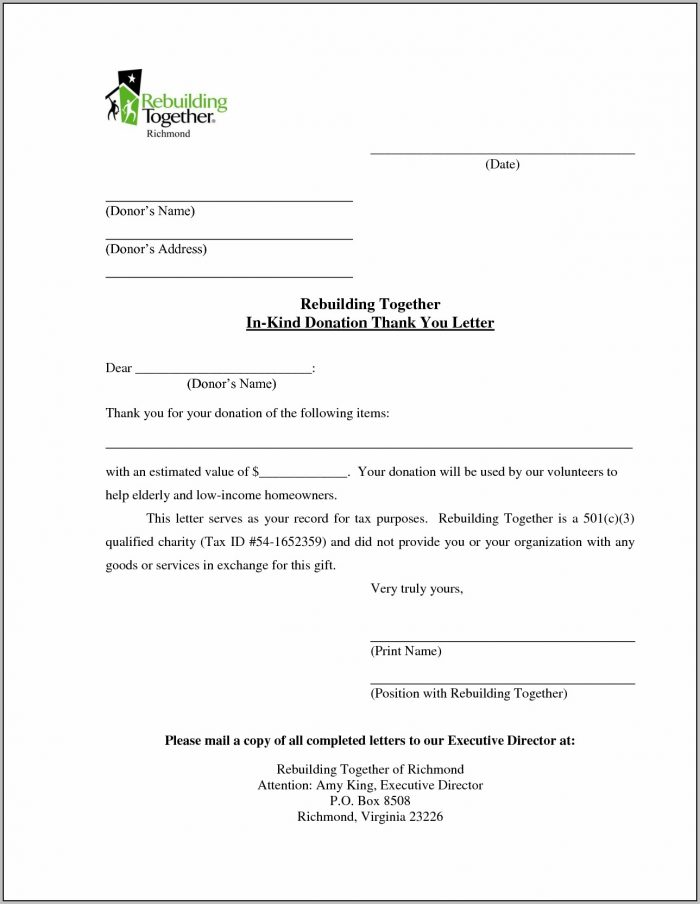 Donation Letter Template Free