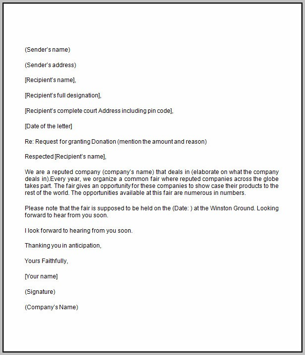 Donation Request Letter Template Word