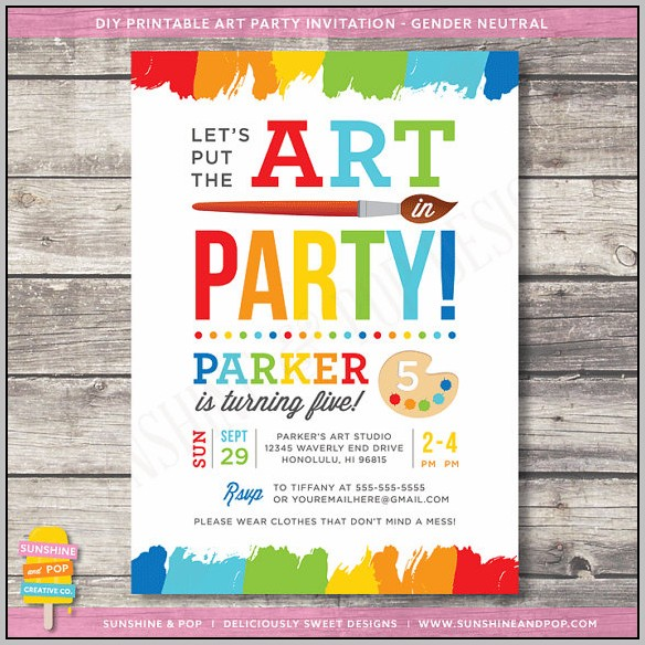 Free Art Party Invitation Templates