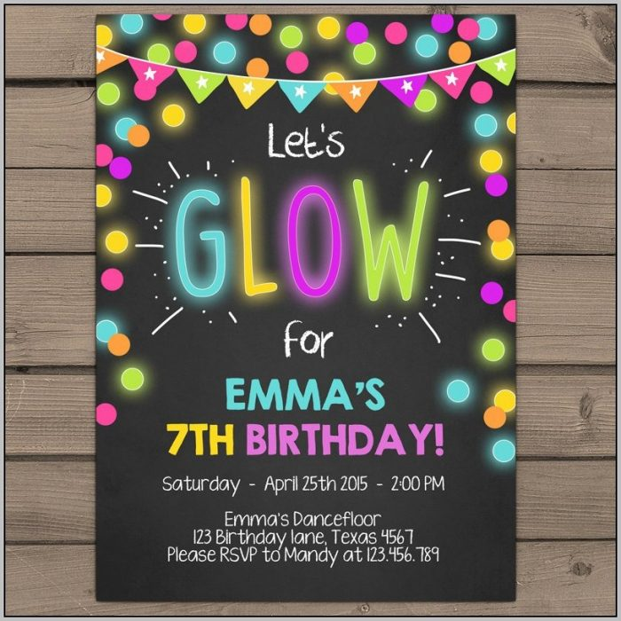 Free Glow In The Dark Party Invitation Templates