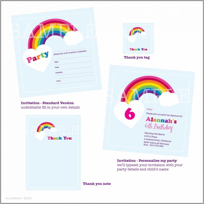 Free Rainbow Party Invitation Template