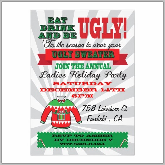 Free Ugly Sweater Christmas Party Invitation Templates