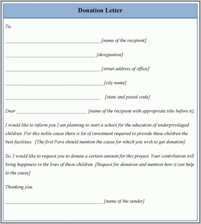 Giving A Donation Letter Template