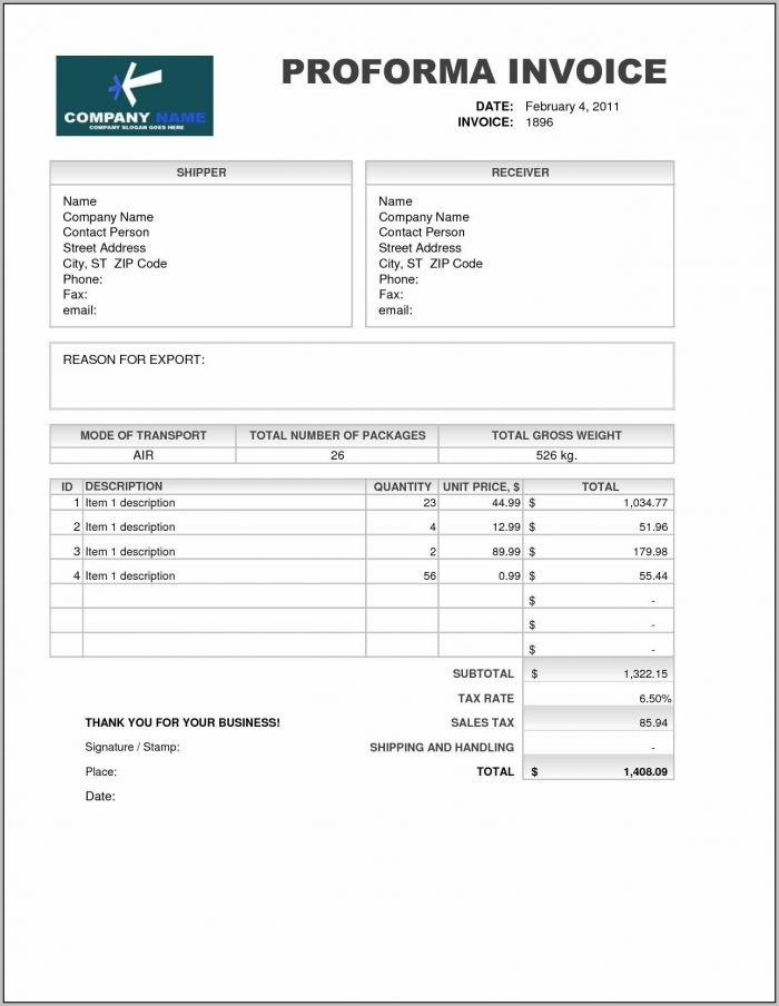 Proforma Invoice Format For Export From India