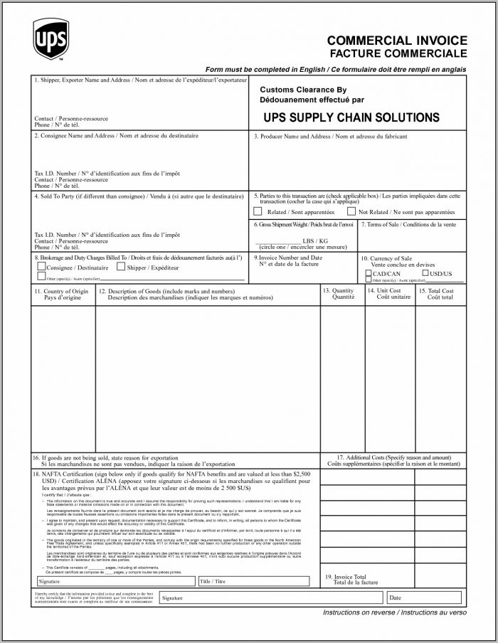 Ups Commercial Invoice Ups International Invoice Invoice Template Free 2016 1275 X 1650