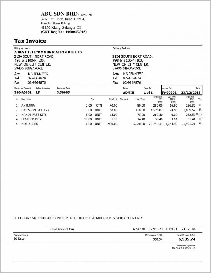 Proforma Tax Invoice Template