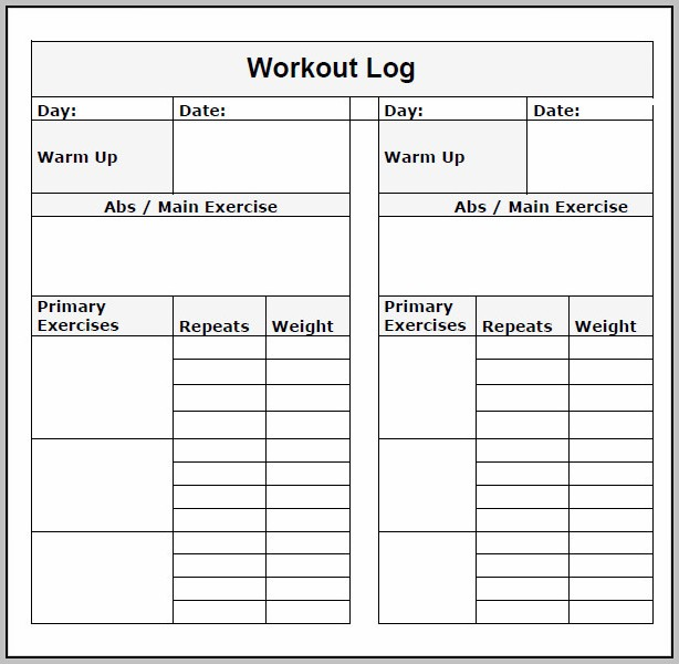 Workout Log Template Word
