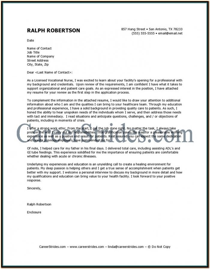 Resume Cover Letter Template For Nursing