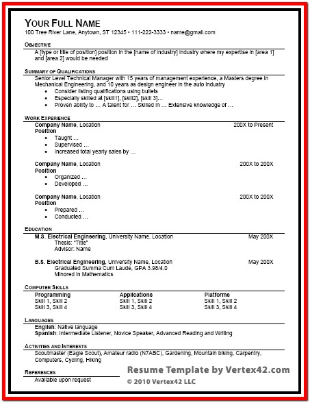 Free Resume Template For Microsoft Word Resume Templates For Word 2003 Resume Templates For Word 2003