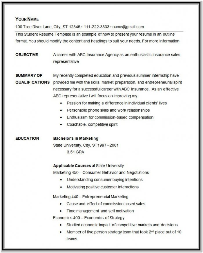 Basic Resume Format Free Download