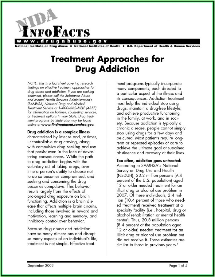Drug Addiction Recovery Worksheets