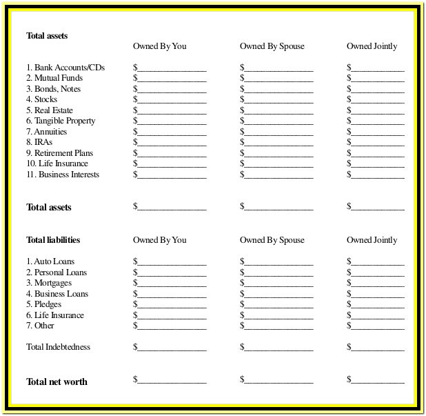 Estate Planning Worksheet Template