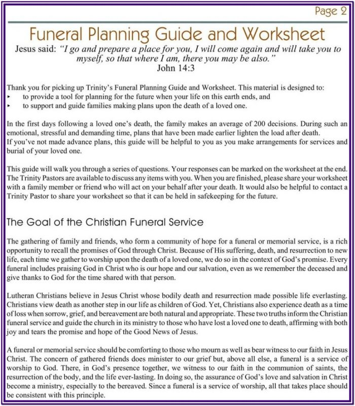 Funeral Planning Worksheet Pdf