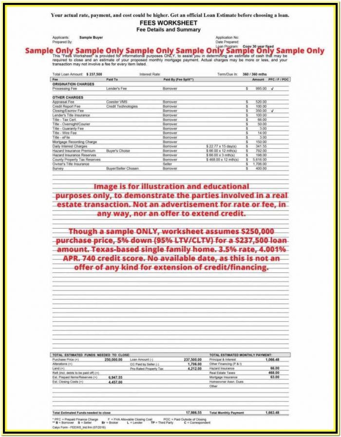 Mortgage Itemized Fee Worksheet