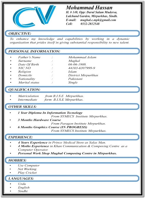 New Updated Resume Format Free Download