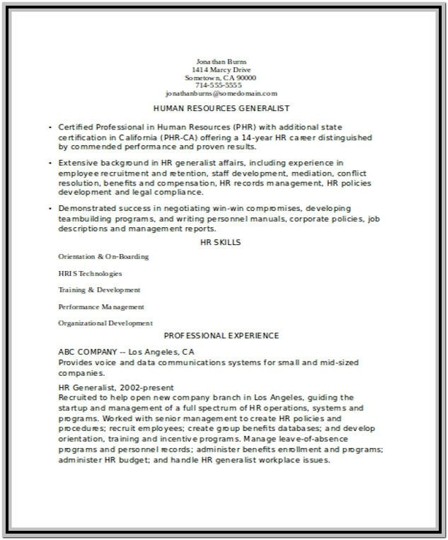 Resume Format Free Download For Experienced