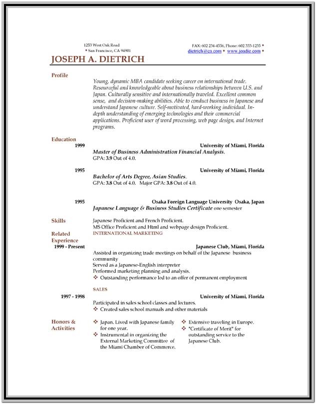 Resume Format Template Free Download