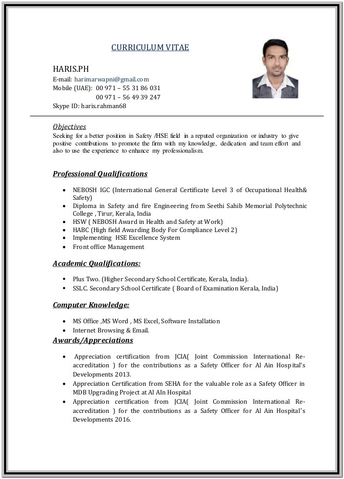 Safety Officer Resume Format Free Download